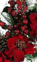 Red 24-Inch Poinsettia Christmas Wreath, 24 Inch High