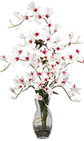 White Dendrobium Orchid with Vase, 35 High